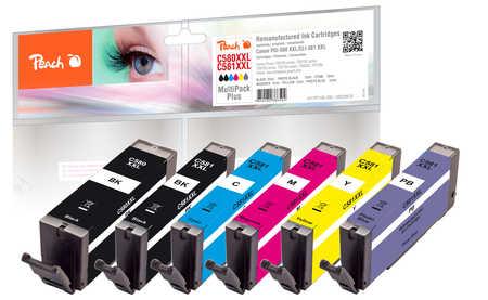 Peach  Combi Pack avec photo bleu, XXL compatible avec ID-Fabricant: PGI-580XXL, CLI-581XXL Canon Pixma TS 9100 Series