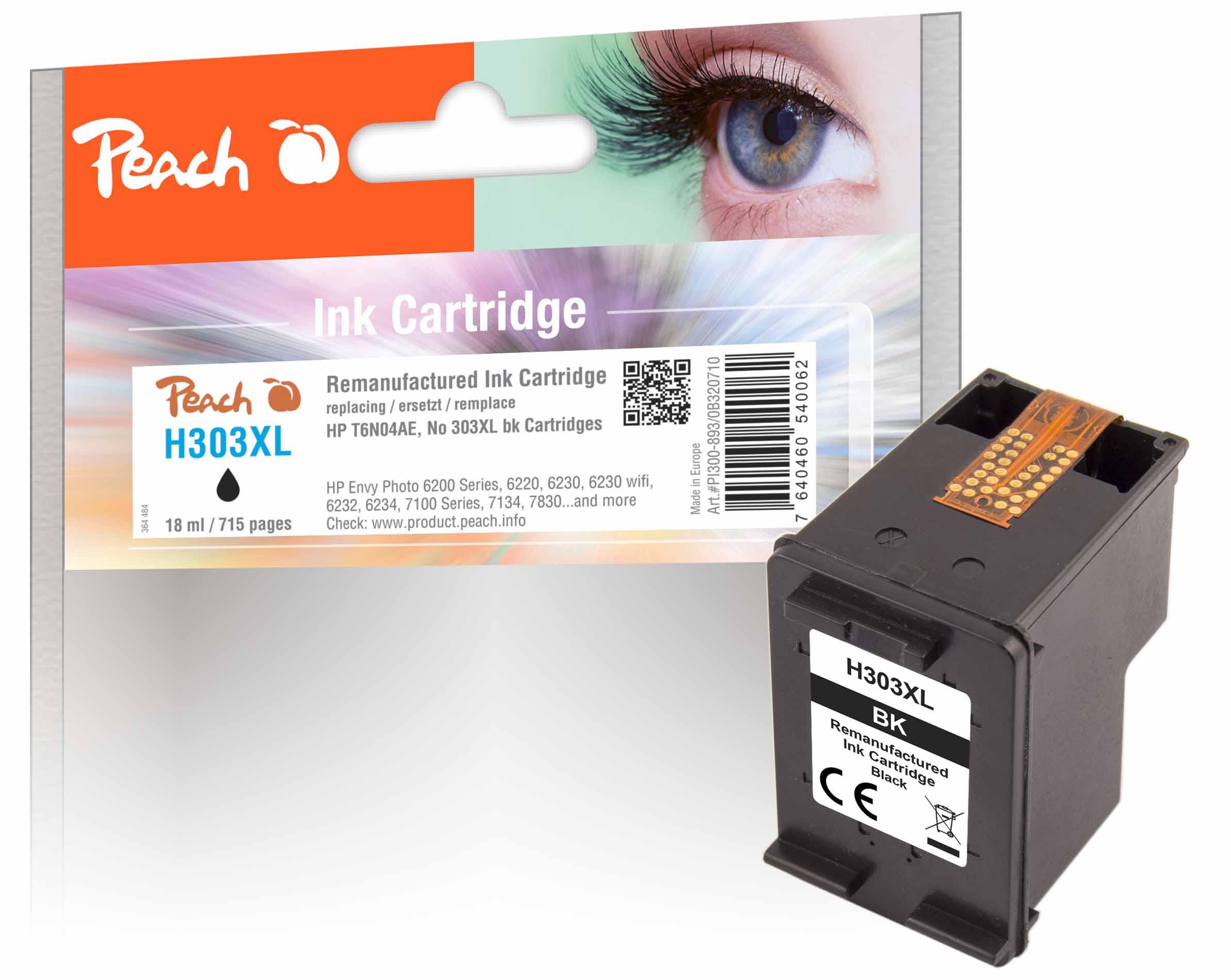 Peach  tête d'impression noire compatible avec ID-Fabricant: No. 303XL bk, T6N02AE HP Envy Photo 6234