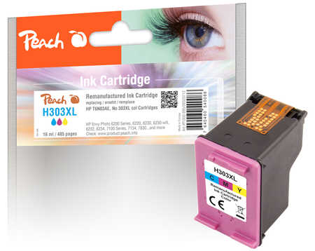 Peach Tête d'impression  couleur, compatible avec ID-Fabricant: No. 303XL col, T6N03AE HP Envy Photo 6234