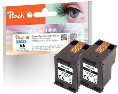 Peach  Double Pack tête d'impression noir, compatible avec ID-Fabricant: No. 303XL bk, T6N04AE*2 HP Envy Photo 6234