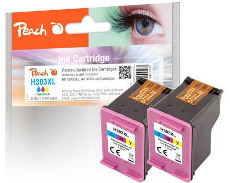 Peach  Double Pack tête d'impression couleur, compatible avec ID-Fabricant: No. 303XL col, T6N03AE*2 HP Envy Photo 6234