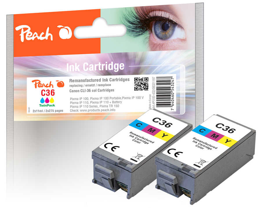 Peach  Twin Pack Ink Cartridge color, compatible with ID-Fabricant: CLI-36, 1511B001 Canon Pixma IP 100