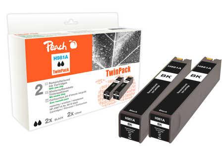 Peach  Twinpack cartouche d'encre noire compatible avec ID-Fabricant: No. 981A, J3M71A HP PageWide Enterprise Color Flow MFP 586 dn