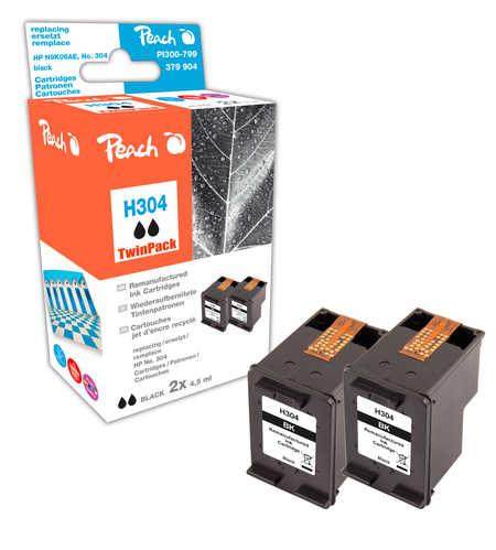 Peach  Double Pack tête d'impression noir, compatible avec ID-Fabricant: No. 304 bk, N9K06AE*2 HP DeskJet 3720