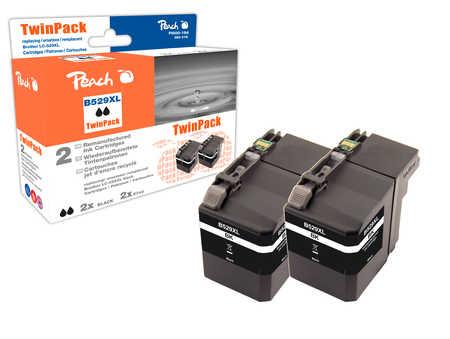 Peach  Twin Pack cartouche d'encre XL noire, compatible avec ID-Fabricant: LC-529XL BK*2 Brother DCPJ 100