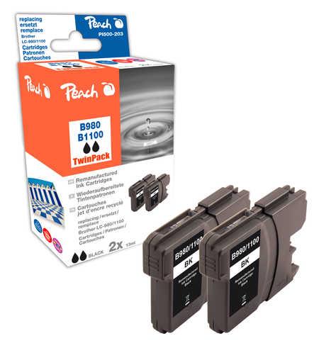 Peach  Twin Pack cartouche d'encre noire, compatible avec ID-Fabricant: LC-980, LC-1100bk*2 Brother DCP-163 C