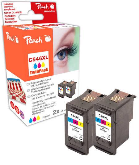 Peach  Double Pack tête d'impression couleur, compatible avec ID-Fabricant: CL-546XL*2 Canon Pixma MG 2455