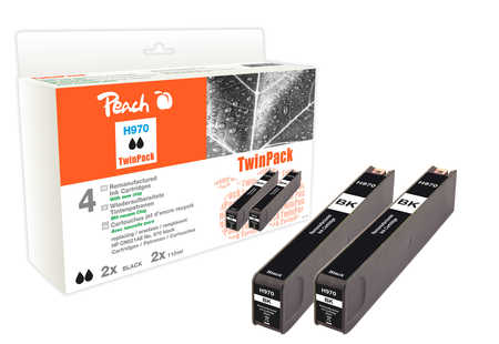 Peach  Twinpack cartouche d'encre noire compatible avec ID-Fabricant: CN621AE, No 970*2 HP OfficeJet Pro X 451 dn