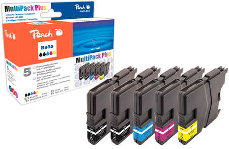 Peach  Multipack Plus, compatible avec ID-Fabricant: LC-985 Brother DCPJ 125