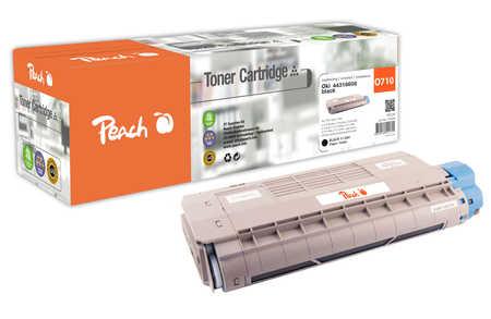 Peach  Cartouche de toner noire, comapatible avec ID-Fabricant: 44318608 OKI C 710 DTN