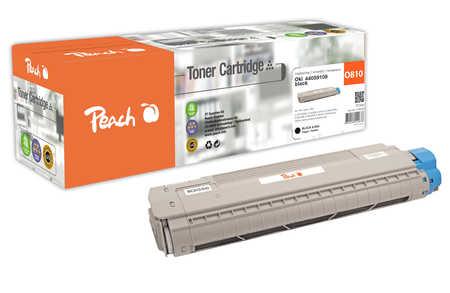 Peach  Cartouche de toner noire, comapatible avec ID-Fabricant: 44059108 OKI C 830 CDTN
