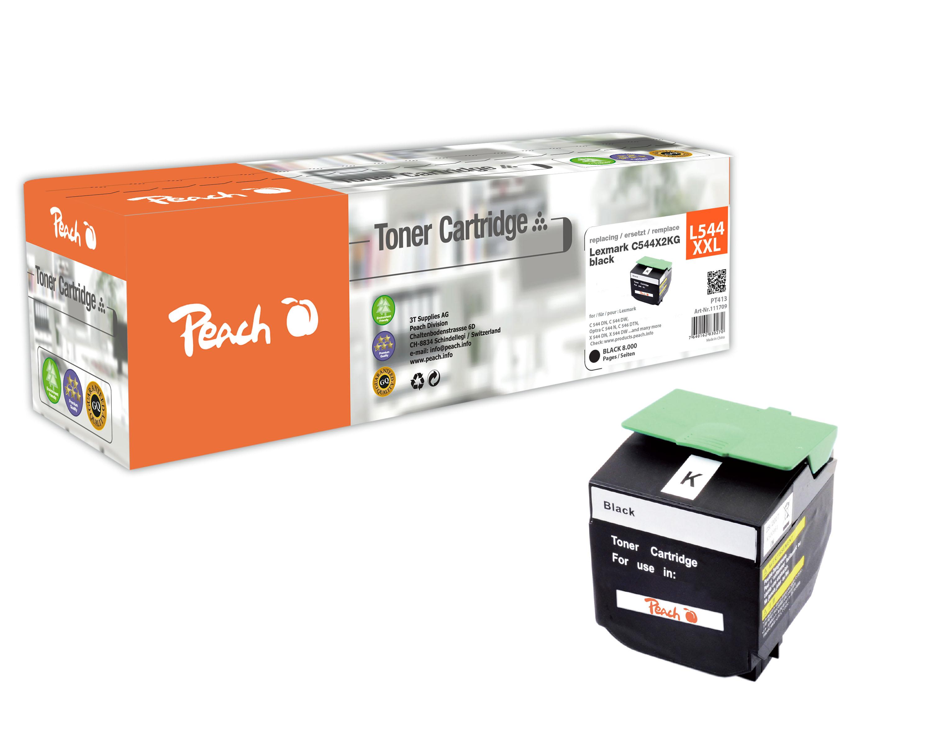 Peach  Toner Module noire, compatible avec ID-Fabricant: C544X2KG, C544, X544 Lexmark Optra C 544 DTN