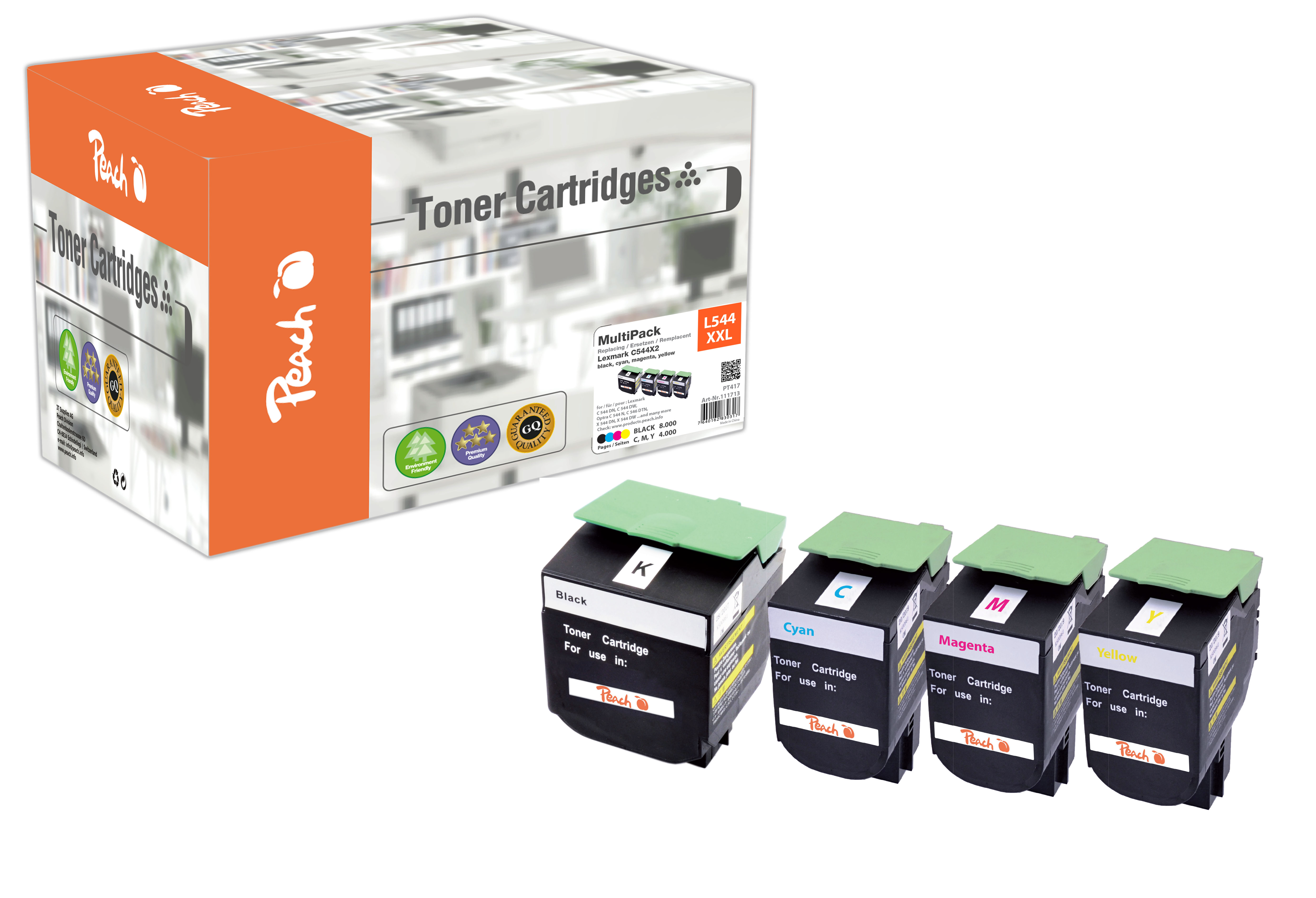 Peach Multipack , compatible avec ID-Fabricant: C544X2, C544, X544 Lexmark Optra C 544 DTN
