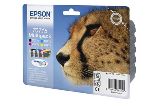 Original Multipack d'encre originale noire et couleur, ID-Fabricant: T0715, T07154010 Epson Stylus Office BX 310 FN