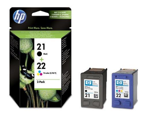 Original Pack combiné des cartouches d'encre originales noire et couleur, ID-Fabricant: No. 21,No. 22, SD367AE HP OfficeJet 4625