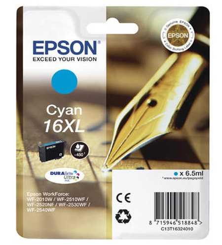 Original Cartouche d'encre cyan originale, XL ID-Fabricant: No. 16XL c, T16324 Epson WorkForce WF-2530 WF