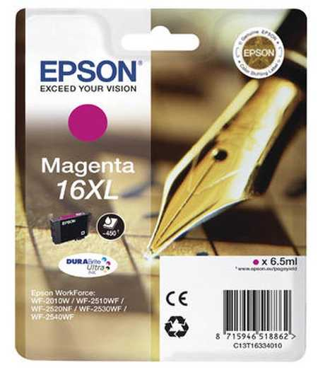 Original Cartouche d'encre magenta originale, XL ID-Fabricant: No. 16XL m, T16334 Epson WorkForce WF-2010 W