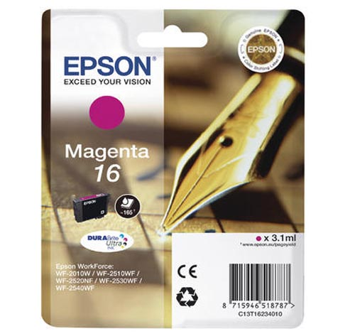 Original Cartouche d'encre magenta originale ID-Fabricant: No. 16 m, T16234 Epson WorkForce WF-2530 WF