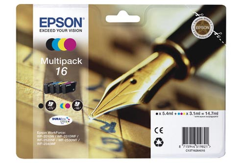 Original Cartouches d'encre Multipack originale BKCMY ID-Fabricant: No. 16, T16264 Epson WorkForce WF-2530 WF