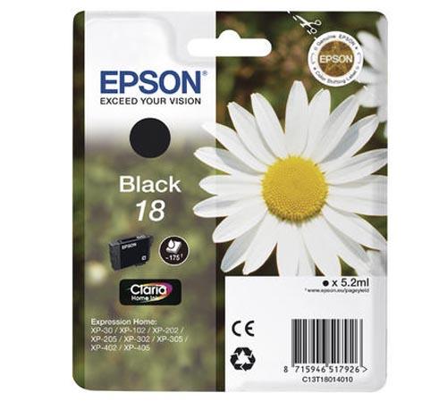 Original Cartouche d'encre noire originale ID-Fabricant: No. 18 bk, T18014 Epson Expression Home XP-302