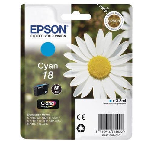 Original Cartouche d'encre cyan originale ID-Fabricant: No. 18 c, T18024 Epson Expression Home XP-302
