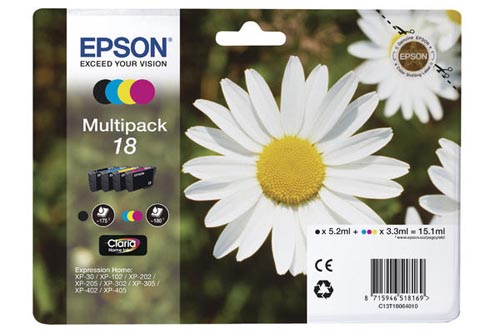 Original Cartouches d'encre Multipack originale BKCMY ID-Fabricant: No. 18, T18064 Epson Expression Home XP-302