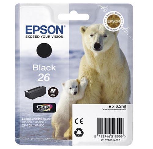 Original Cartouche d'encre noire originale ID-Fabricant: No. 26 bk, T2601 Epson Expression Premium XP-700