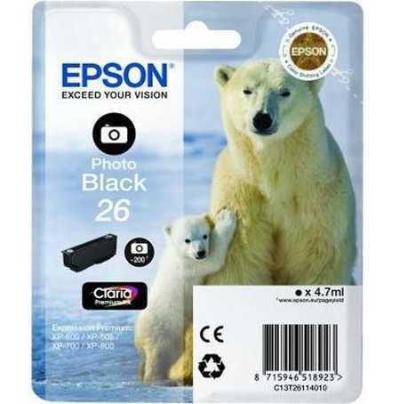 Original Cartouche d'encre photo noire originale ID-Fabricant: No. 26 bk, T2611 Epson Expression Premium XP-700