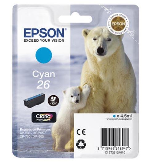 Original Cartouche d'encre cyan originale ID-Fabricant: No. 26 c, T2612 Epson Expression Premium XP-700
