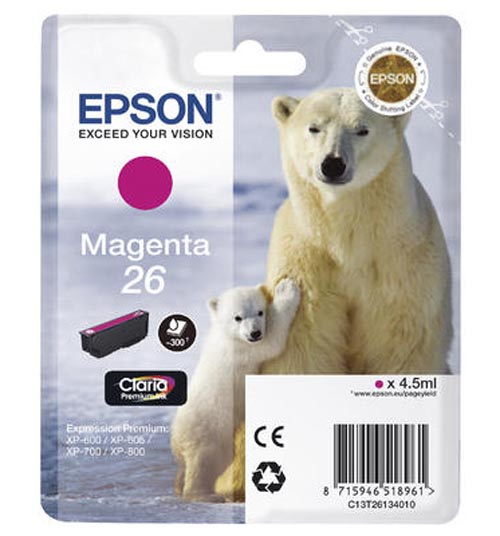 Original Cartouche d'encre magenta originale ID-Fabricant: No. 26 m, T2613 Epson Expression Premium XP-700