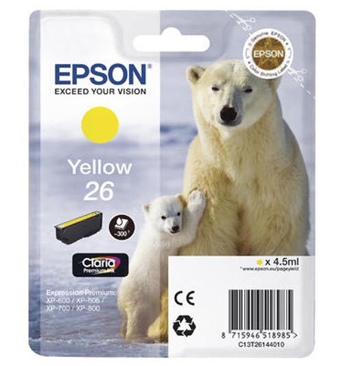 Original Cartouche d'encre jaune originale ID-Fabricant: No. 26 y, T2614 Epson Expression Premium XP-700