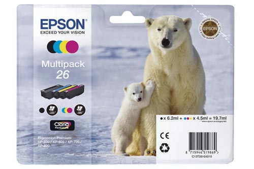 Original Cartouches d'encre Multipack originale PBKCMY ID-Fabricant: No. 26, T2616 Epson Expression Premium XP-700