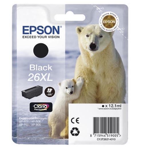 Original Cartouche d'encre noire originale, XL ID-Fabricant: No. 26XL bk, T2621 Epson Expression Premium XP-700