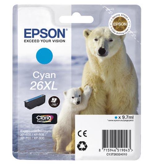 Original Cartouche d'encre cyan originale, XL ID-Fabricant: No. 26XL c, T2632 Epson Expression Premium XP-700
