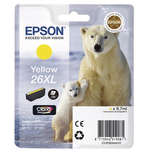Original Cartouche d'encre jaune originale, XL ID-Fabricant: No. 26XL y, T2634 Epson Expression Premium XP-700