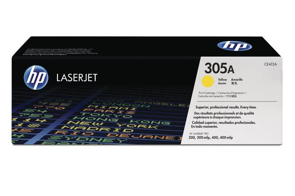 Original Cartouche d'encre jaune originale ID-Fabricant: No. 305A, CE412A HP LaserJet Pro 400 color M 451 dn