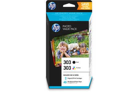 Original  Printheads Valuepack black, color+ 10 Photopaper 10x15cm ID-Fabricant: No. 303, Z4B62EE HP Envy Photo 6234