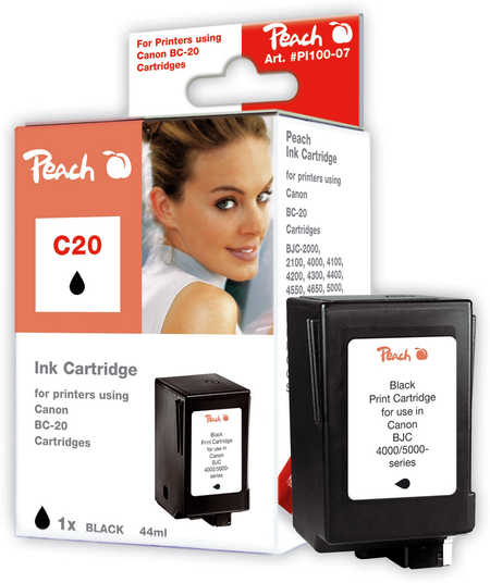 Peach Tête d'impression  noire, compatible avec ID-Fabricant: BCI-20 bk Canon BJC 411 F