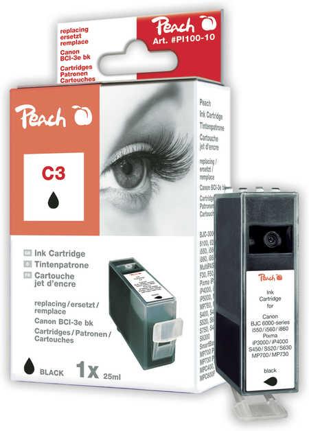 Peach Cartouche d'encre  noir, compatible avec ID-Fabricant: BCI-3e bk Canon BJC 6000