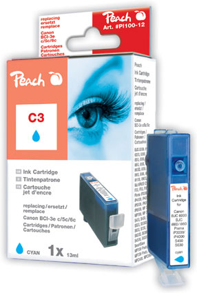 Peach Cartouche d'encre  cyan, compatible avec ID-Fabricant: BCI-3e c, BCI-5 c, BCI-6 c Canon BJC 8200