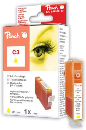 Peach Cartouche d'encre  jaune, compatible avec ID-Fabricant: BCI-3e y, BCI-5 y, BCI-6 y Canon BJC 8200