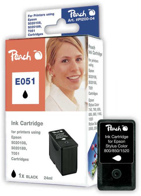 Peach Cartouche d'encre  noir, compatible avec ID-Fabricant: S020189, T051 Epson Stylus Color 740 I
