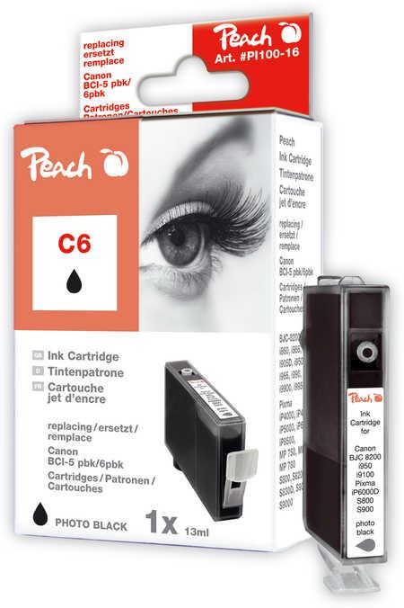 Peach Cartouche d'encre  noir photo, compatible avec ID-Fabricant: BCI-6 bk Canon BJC 8200