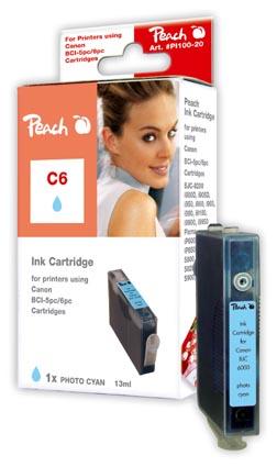 Peach Cartouche d'encre  cyan, compatible avec ID-Fabricant: BCI-6 pc Canon BJC 8200
