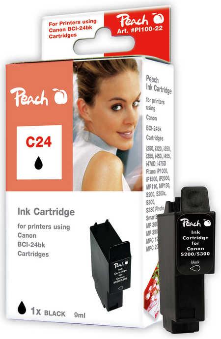 Peach Cartouche d'encre  noir, compatible avec ID-Fabricant: BCI-24 bk Canon imageCLASS MPC 200