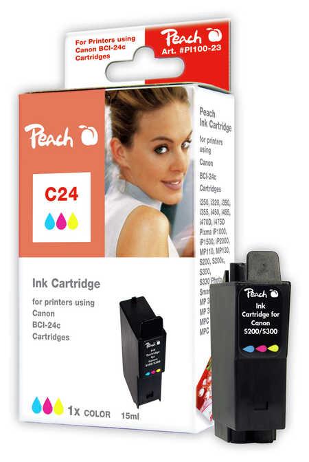 Peach Cartouche d'encre  couleur, compatible avec ID-Fabricant: BCI-24 c Canon imageCLASS MPC 200