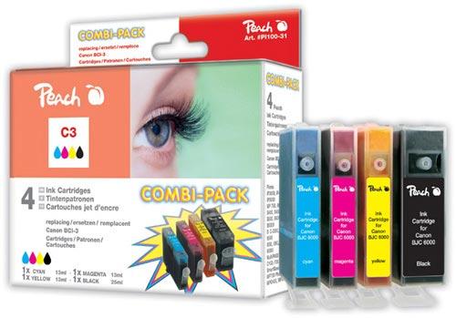 Peach Multipack , compatible avec ID-Fabricant: BCI-3e-series Canon BJC 6000