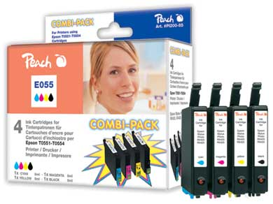 Peach  Multi Pack, compatible avec ID-Fabricant: T0556 (T0551, T0552, T0553, T0554) Epson Stylus Photo RX 420