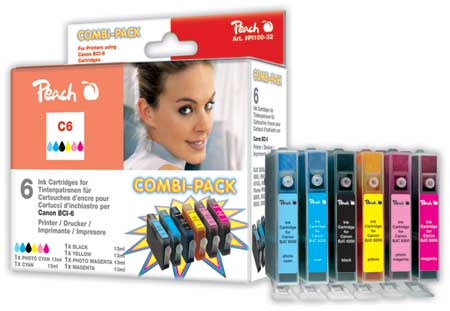 Peach Multipack , compatible avec ID-Fabricant: BCI-6-series Canon BJC 8200