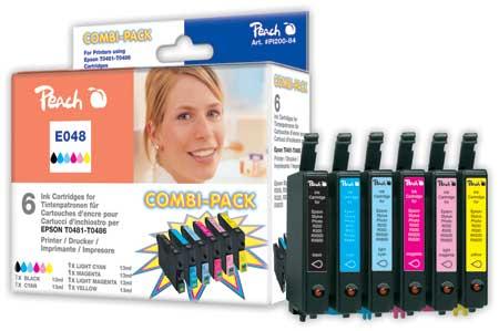 Peach Multipack , compatible avec ID-Fabricant: T0481, T0482, T0483, T0484, T0485, T0486 Epson Stylus Photo R 300